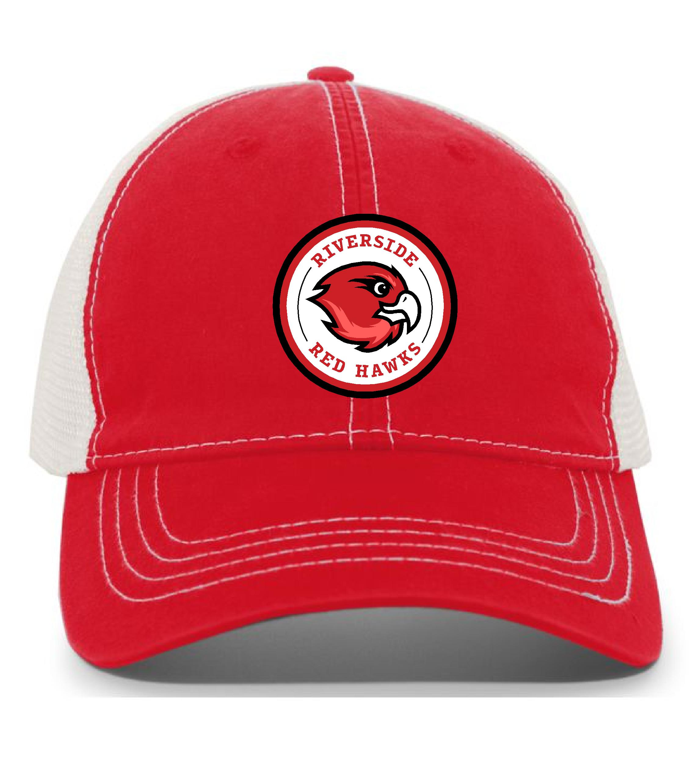 Red cap with hawk logo
