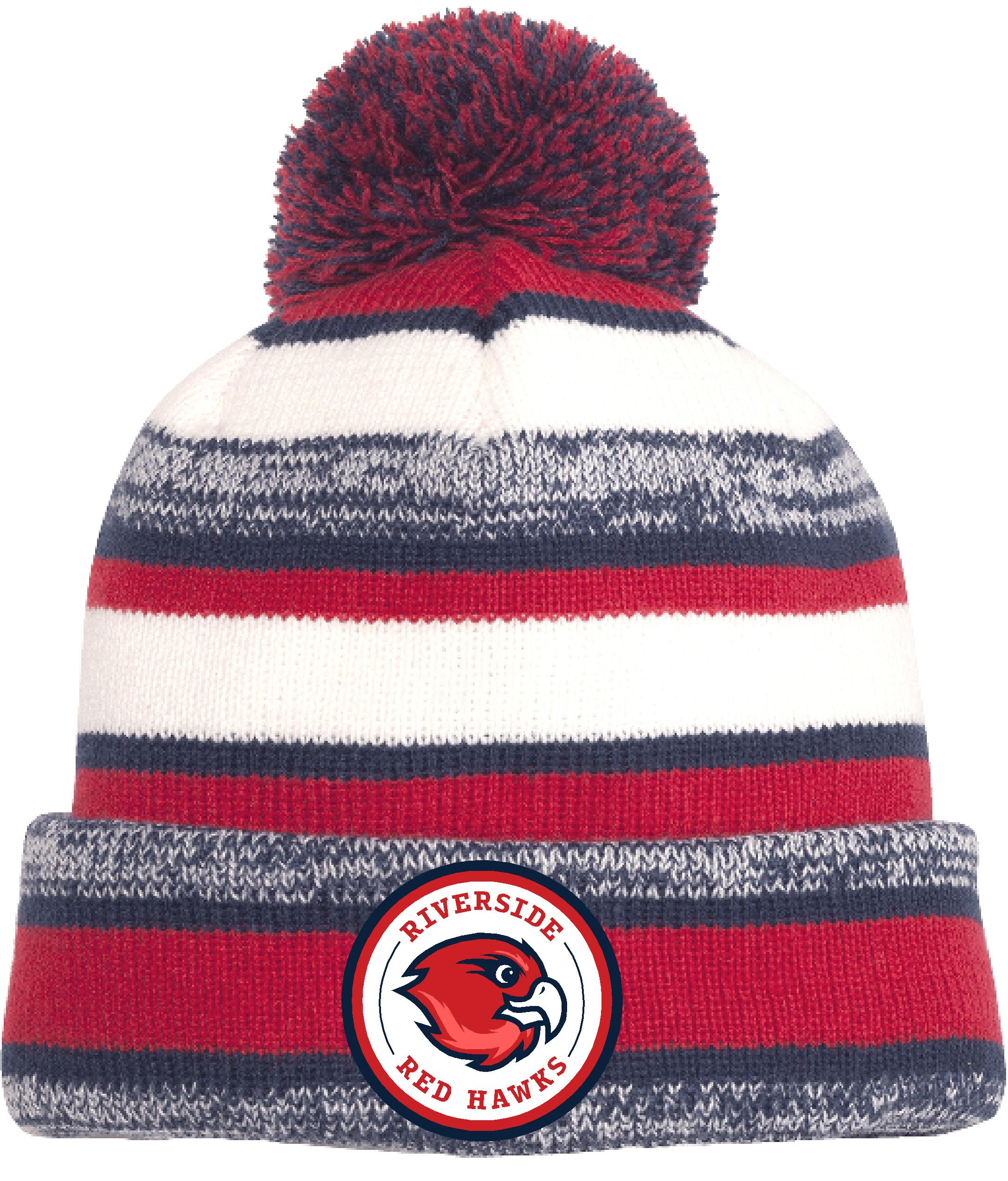 Wooly red, white and blue beanie hat