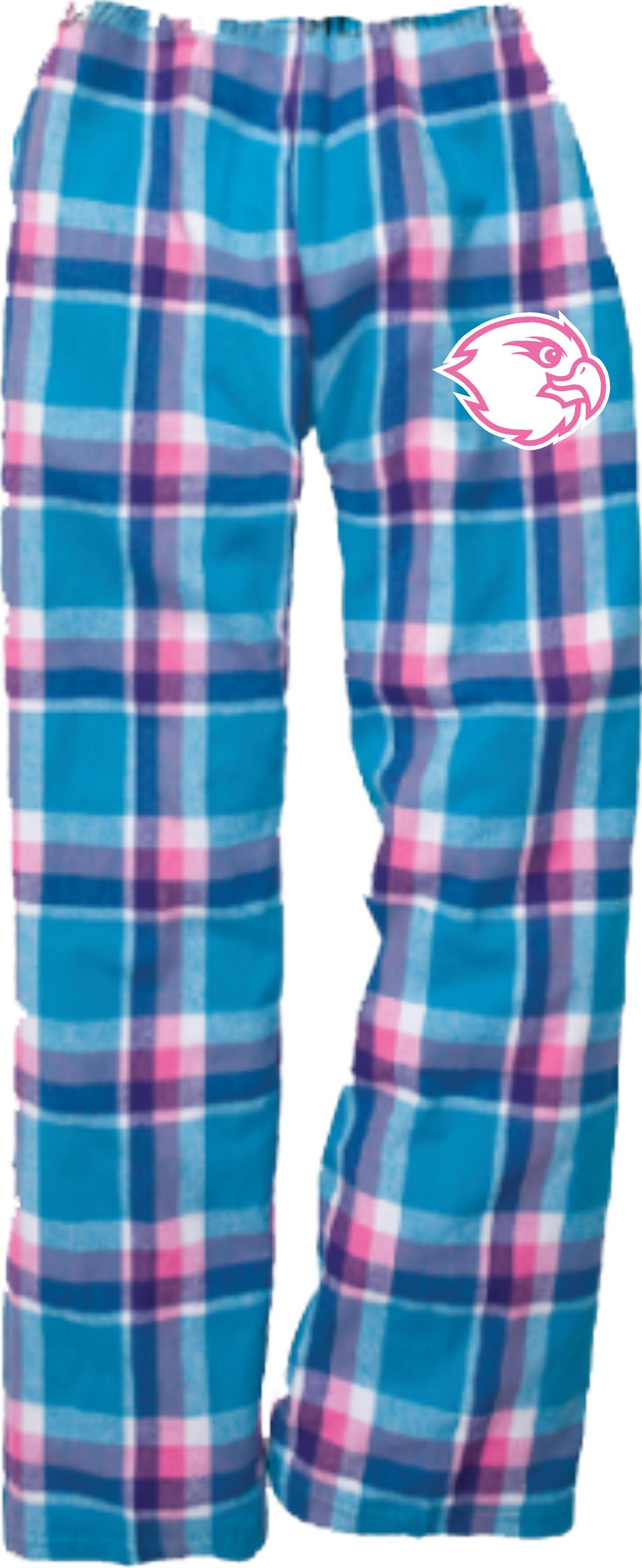 Light blue and pink flannel pj's